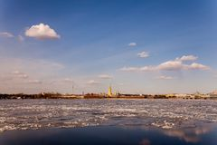 Spring in St. Petersburg. Neva. In St. Petersburg in the spring on the river Neva ice floats. And the sun is shining Royalty Free Stock Photos