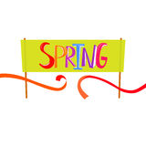 Spring start banner. Spring Time lettering on banner background. Spring start and finish concept. Banner design with cut red tape. Starting line. Finish line Stock Image