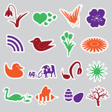 Spring stickers set  Royalty Free Stock Image
