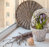 Spring still life with easter lamb on the window Stock Images