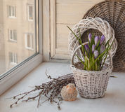 Spring still life with easter lamb on the window Royalty Free Stock Photos