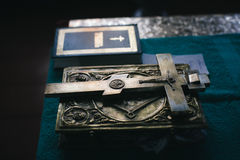 Spring still life. Orthodox iron cross with crucifix Stock Photos