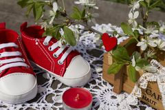 Spring still life with red children`s bootees. Nearby a red candle and the blossoming plum branches in a wooden box Stock Photo