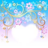 Fjädra rosa easter inramar royaltyfri illustrationer