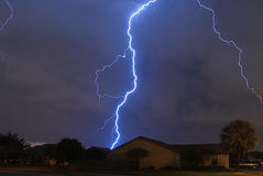 Spring Storm. Lightning strike in a local neighborhood stock photo