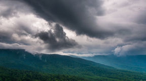Spring storm clouds over the Blue Ridge Mountains, seen from Skyline Drive in Shenandoah National Park Royalty Free Stock Images