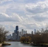 Spring Storm Couds Over Chicago Stock Photos