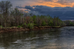 Spring storm over the Des Moines river Stock Photo