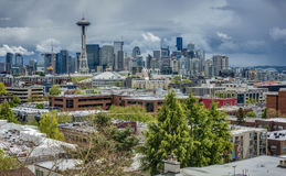 Spring Storms over Seattle Skyline. Dark Skies Roll in over the Seattle Skyline in the Early Spring Stock Image