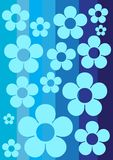 Spring Streaky Wallpaper. Blue Spring Retro Wallpaper with Strips and Flower vector illustration