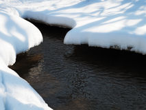Spring stream. Ice melting on the surface of a park stream Royalty Free Stock Image