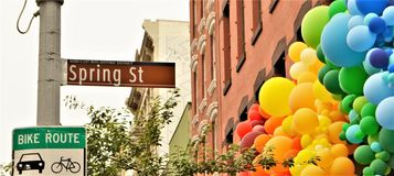 Spring Street sign. New York City SoHo Trendy Tourism Shopping Attraction royalty free stock images