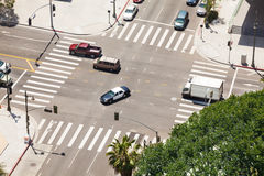 Spring Street and traffic in Los Angeles, USA Stock Photos
