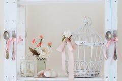 Spring studio decor, light home decor. Romantic interior for a spring session royalty free stock photo