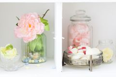 Spring studio decor, light home decor. Romantic interior for a spring session stock image