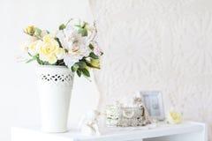 Spring studio decor, light home decor. Romantic interior for a spring session stock images