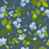 Spring stylish beautiful bright floral seamless pattern. Abstract Elegance vector illustration texture with blue flowers on dark blue background Stock Image