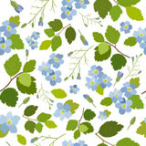 Spring stylish beautiful bright floral seamless pattern. Abstract Elegance vector illustration texture with blue flowers on white background. Vector Royalty Free Stock Photo