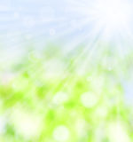 Spring sum beam. Spring sun beam over green blue background Stock Photography