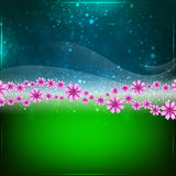 Spring or Summer abstract background. Green and blue abstract background. Spring and summer wallpaper. Space for text vector illustration