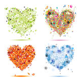 Spring, summer, autumn, winter. Art hearts. Four seasons - spring, summer, autumn, winter. Art hearts beautiful for your design Royalty Free Stock Photo