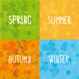 Spring, summer, autumn, winter handwriting Royalty Free Stock Photo