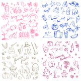 Spring summer autumn and winter holiday season doodle icon Royalty Free Stock Images
