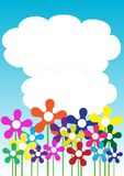 Spring / Summer Background. Spring Background - Different Flowers / Blue Sky With Clouds stock illustration
