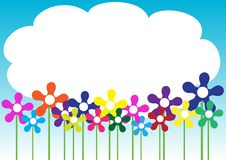 Spring / Summer Background. Spring Background - Different Flowers / Blue Sky With Clouds vector illustration