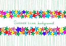 Spring, summer background. Rainbow floral border for design. Royalty Free Stock Photo