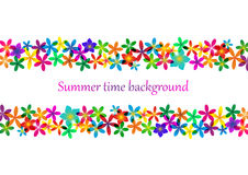 Spring, summer background. Rainbow floral border for design. Spring, summer background. Rainbow floral border for design Royalty Free Stock Photography