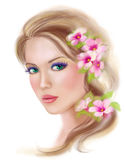 Spring Summer beauty woman fantasy in flowers on hairstyle Royalty Free Stock Photography