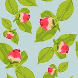 Spring summer bloom. Beautiful background blooming retro flowers. Pink flowers. Floral baroque. Vintage vector stock illustration textile. Blue backdrop Stock Photography