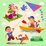 Spring and summer child's outdoor activities. vector illustration
