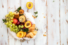 Spring or Summer Concept with Peaches, Plums, Grapes and Pastrie Royalty Free Stock Photo