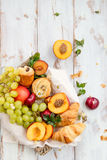 Spring or Summer Concept with Peaches, Plums, Grapes and Pastrie Stock Photos