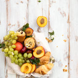 Spring or Summer Concept with Peaches, Plums, Grapes and Pastrie Royalty Free Stock Image