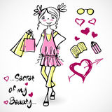 Spring summer cute sweet trend glamour girls Stock Image