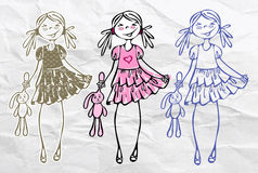 Spring summer cute sweet trend glamour girls. Spring summer vector cute sweet trend glamour girls. Fashion pink woman. Sketch fashion girl Royalty Free Stock Image