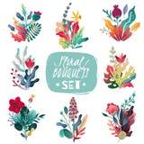 Spring summer decorative flower bouquets set. Set of eight flower bouquets stock illustration