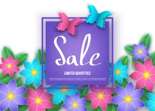 Spring or summer  discount  banner with flowers and butterflies. Sale. Trendy floral colorful background. Vector paper  graphic design elements for promotion Stock Photography