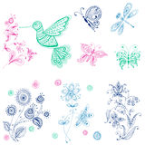 Spring & Summer Doodles Royalty Free Stock Image