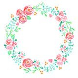 Spring and summer flowers watercolor hand painted wreath. Hand painted watercolor illustration of a floral wreath decorated with beautiful summer flowers and Royalty Free Stock Images