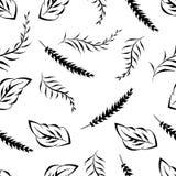 Monochrome foliage seamless printable pattern. Spring, summer foliage backdrop. Monochrome floral seamless printable pattern. Doodle leaf, blossom print Stock Image