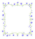 Spring or Summer Frame of Flowers. Green twining curlicue frame surrounded by blue flowers Stock Image