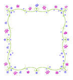 Spring or Summer Frame of Flowers. Green twining curlicue frame surrounded by blue and purple flowers Stock Photos