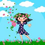 Spring summer girl. Happy kids girl on spring time flowers illustration Stock Photography