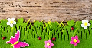 Spring or summer and grass field with wooden background. royalty free stock photos