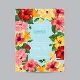 Spring and Summer Greeting Card with Frame. Floral Design with Red Hibiscus Flowers for Weding Invitation, Postcard. Party, Banner, Flyer. Vector illustration Stock Photography