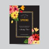 Spring and Summer Greeting Card with Frame. Floral Design with Red Hibiscus Flowers for Weding Invitation, Postcard. Party, Banner, Flyer. Vector illustration Stock Images